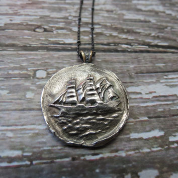 Clipper Ship Pure Silver Antique Wax Seal and Sterling Silver Necklace ~ Nautical. Boat. Historical.