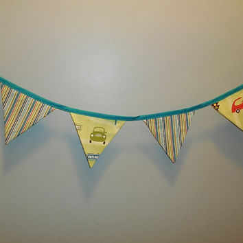 Adorable Car Themed Bunting Fabric Garland For Decoration Or Room Decor
