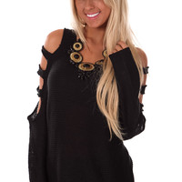 Black Sweater with Cut Out Design Shoulder