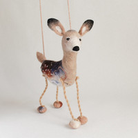 Hanna - White Tailed Female Deer, Art Puppet Marionette Stuffed Animal Felted Toy. beige neutral cream brown Christmas deer.  MADE TO ORDER.