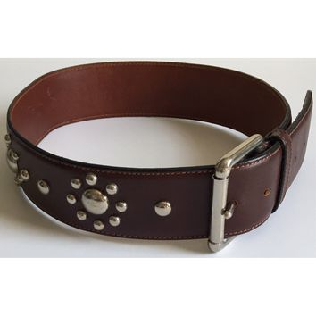 Calvin Klein Studded Waist Belt Hand Waxed Bridle Leather Silver Western 28""