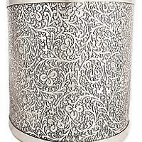 Floral Embossed Silver Cuff