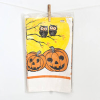 Vintage Halloween Paper Tablecloth, NOS Pumpkin Owl Print Trick or Treat Decor Original Package
