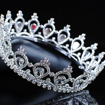 Luxurious Queen Princess Crowns Tiaras Austrian Rhinestones Clear Crystal Wedding Bridal Pageant Prom Party Headpiece