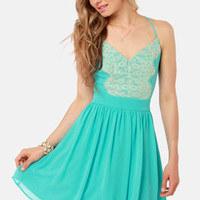 Just Dance Backless Aqua Lace Dress