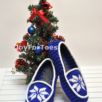 Crochet Slippers Christmas in July Star Blue Gift for him Slippers xmas gift Custom made