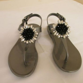 COACH Hilda Jelly Pewter Slingback Flat Sandals Women's 7 M
