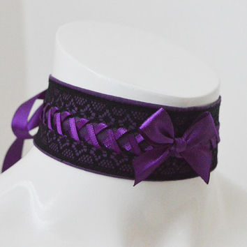 Gothic choker - Dark messiah - goth lolita cosplay costume adult kittenplay gear kitten play collar - black and violet cute sexy