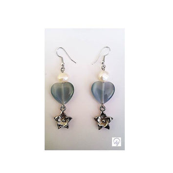 Grey Agate,Cultured Pearl and Silver Plated Star Pendant Earrings - Upcycled Jewellery
