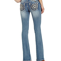 Miss Me Flower-Pocket Bootcut Jeans - Medium Blue