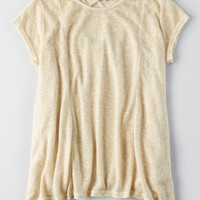 Don't Ask Why Keyhole T-Shirt , Natural | American Eagle Outfitters