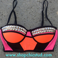Studded Bustier Bra Top - Pink & Orange Color Block - Silver, Gold, or Black Studs