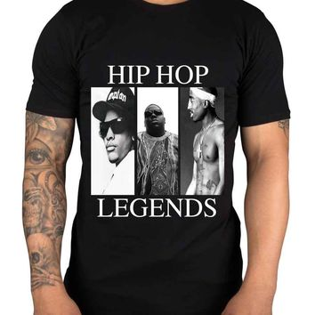 Hip Hop Legends NEW Graphic Mens T Shirt Compton 2 Pac Biggie Smalls Eazy E Tupac Top Tee Summer 100% Cotton Tshirts Size S-3XL