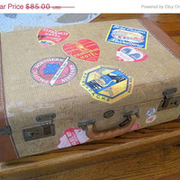 Mid Century Tweed Suitcase Display StorageTravel Stickers