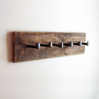 "Rustic coat rack, wall hanger with 6 railroad spike hooks, 30"" x 8"" barnwood towel rack"