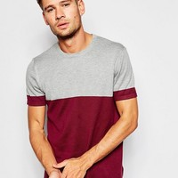 ASOS Cotton Knitted Tshirt with Color Block at asos.com