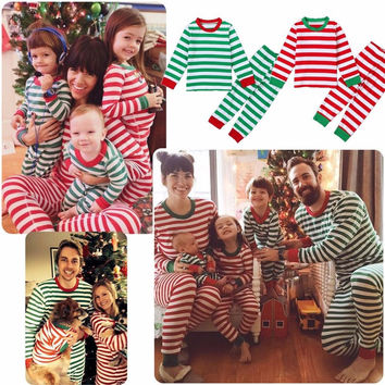 Women Men Baby Boys Girls Christmas Sleepwear Pajamas Set Striped Cotton Xmas Clothes Set Christmas Family Matching Outfits 21