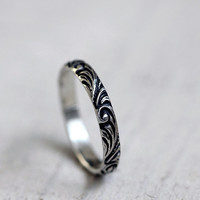 Rustic renaissance sterling silver wedding ring pattern ring