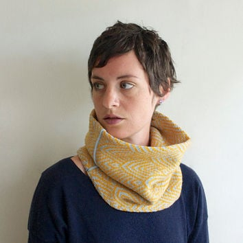 Cowl Neckwarmer - Knit Circle Scarf - Light Blue, Mustard