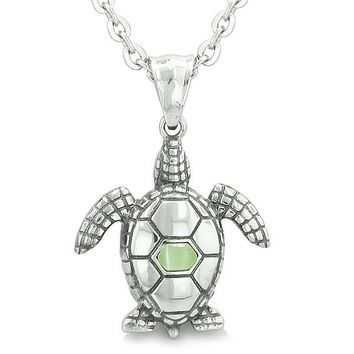 """Amulet Sea Turtle Cute Lime Green Cat's Eye Crystal Lucky Charm Pendant on 18"""" Necklace"""