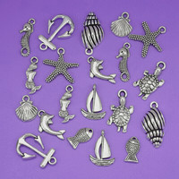 New Fashion Jewelry 100pcs Ancient Silver Mixed Sea Seahorse Shell Fish Anchor Beach charmes pendants DIY Fashion charmes S3899