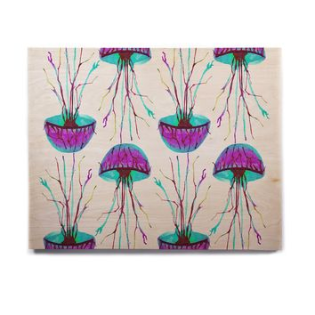 "Ivan Joh ""Jellyfish"" Purple Aqua Birchwood Wall Art"