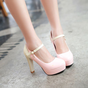 Ankle Straps Mixed Colors High Heel Platform Pumps 8488