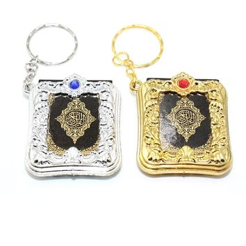 10pcs/lot Gold Silver Arabic real Quran Keychain Eid Mubarak mascot Muslim Party Event Memorial gift  for Guests