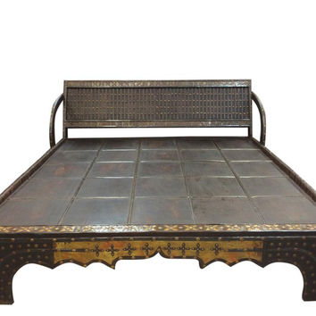 Antique Bed Rustic Indian Oxcart Dark Wood Diwan with Brass Accents, Wrought Iron Posts