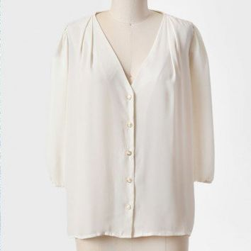 december white button-up blouse at ShopRuche.com