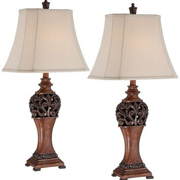 "Exeter 30"" High Wood Finish Table Lamps - Set of 2"