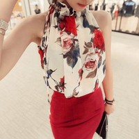 Real Photos Add 2 Colors Summer Tops Halter Floral Chiffon Blouse Sleeveless Thin Shirt Ruffles Lined Loose Plus Size T5651