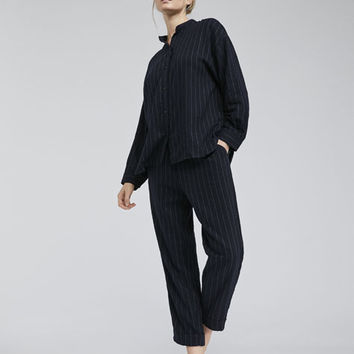 Navy pinstripe trousers - New In - PYJAMAS | Oysho Spain