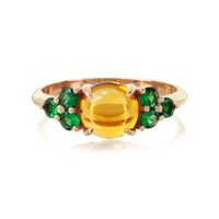 Mia & Beverly Designer Rings Citrine Quartz and Sapphires 18K Rose Gold Ring