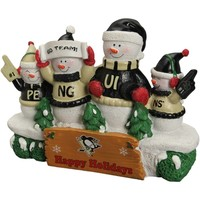 Pittsburgh Penguins Resin Snowman Bench Statue