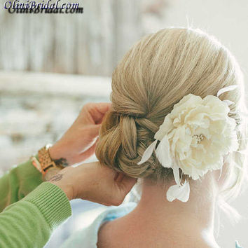 Cream Peony with Feathers and Rhinestone Centerpiece Bridal Hair Flower clip
