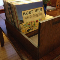 Mid Century Vinyl storage crate - vintage wood record rack
