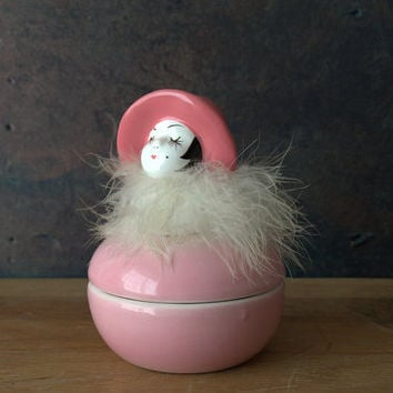 L.W. Rice Imports Flapper Powder Jar, Flapper Lady Trinket Box, Mid Century Powder Jar, Half Doll Trinket Box