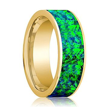 Mens Wedding Band 14K Yellow Gold with Emerald Green and Sapphire Blue Opal Inlay Flat Polished Design
