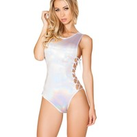 White Shimmer Holographic Lace-Up Rave Bodysuit