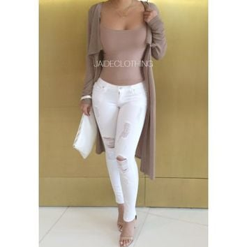 WHITE Ripped All Over Low Rise Jeans - Jaide Clothing