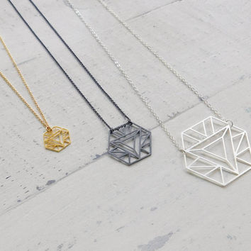 Hexagon Necklace, Dainty Hexagon necklace, small gold necklace, bachelors pendant gift, yoga necklace, gift for her, symbolic necklace