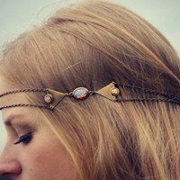 pink opal triangle head chain, chain headband, pink opal headband, metal headband, unique headband