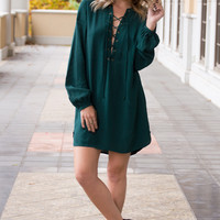 Kendall Lace Up Hunter Green Dress