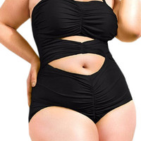 Plus Size Black Cutout Bandage Swimwear