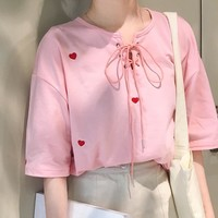 Kawaii Red Heart Embroidered Top