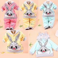 Baby Girls Boys Bunny Rabbit Hoodie Unisex Clothes Set Tracksuit Outfit Age0.5-2 = 1932095172