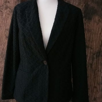 Chico's Black Jacket Textured Size 1 Women's Single Button Blazer