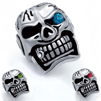 Blue Eyed Skull Ring with Cigar