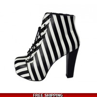 Striped ankle boot